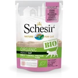 Schesir Pack 16 Schesir Bio para gato saqueta carne de porco 85gr - HE1958343